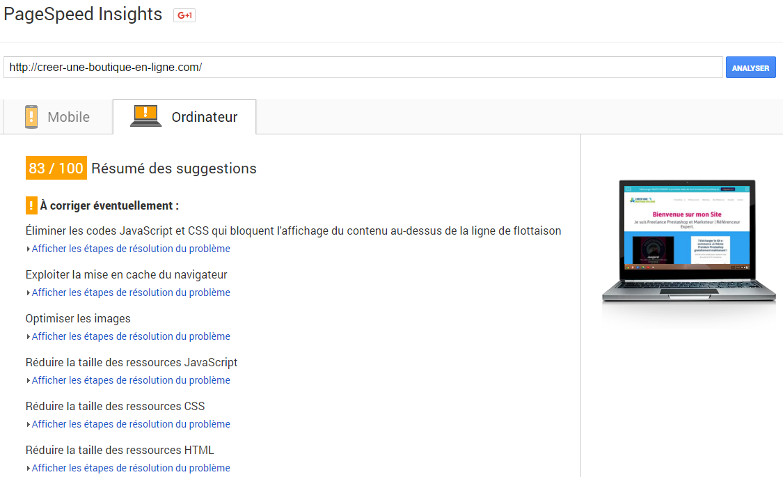 PageSpeed PrestaShop optimiser Code Cache CSS mobile
