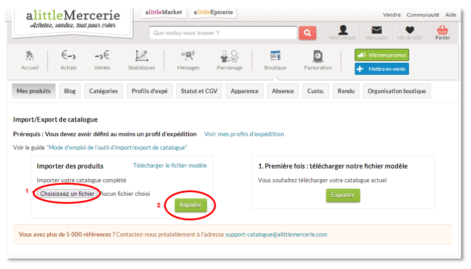 exporter importer catalogue ALittleMarket